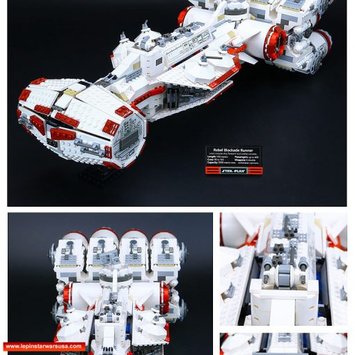 Highly valued and very hard-to-find LEGO Star War knock off bricks set reproduced by LEPIN in 100% replica. Formidable Rebel Blockade Runner presented in every possible detail, displaying the proud of Corellian Corporation. 11 Huge engines to the rear to provide full thrust for a diplomatic escorting mission. t featured two dual and four single turrets. Delicately detailed with every interior and outer structure. Display support stand and name plaque stickers are included. Lepin's premium collector series replica with every detail cloned from the original LEGO model. Match up with other LEPIN StarWars brick sets to re-create the classic scenes in the Star Wars: the Force Awakens.